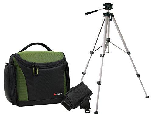 Foto Tasche Kamera DELSEY DELPIX 170 Set mit Reise Stativ für Nikon D5500 D5300 D5100 D3300 D3200 D3100 und andere