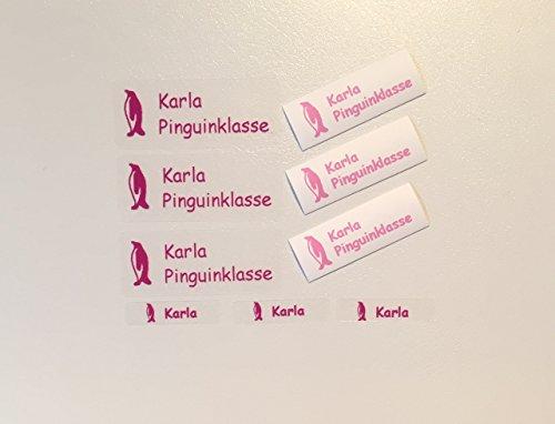 100 MDS Labels© Namensetiketten im Set für Kinder /Schule/Kindergarten/Einschulung/Schultüte (Aufkleber, Stiftaufkleber und Bügeletiketten) transparent mit buntem Aufdruck