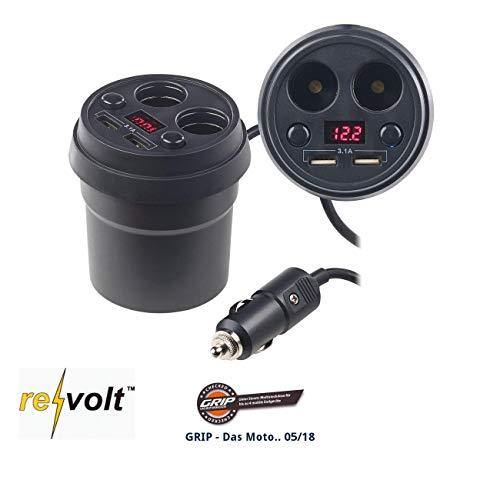 reVolt 12V Steckdose: 4-Fach-Kfz-Verteiler mit je 2X 12-/24-V- & USB-Port (3,1 A), 80 Watt (Zigarettenanzünder Verlängerung)