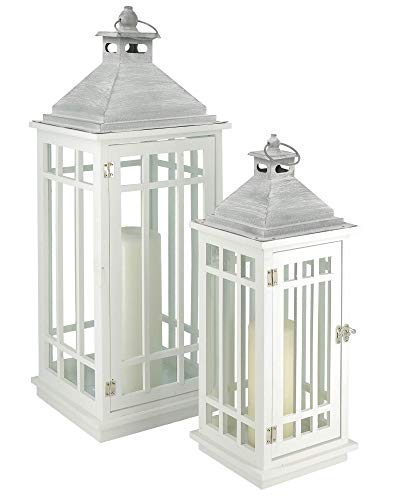 CREOFANT Hochwertige weiße Holz Laterne White Moments · 2er Set (70 cm, 50 cm) · Gartenlaterne · Windlicht · Deko