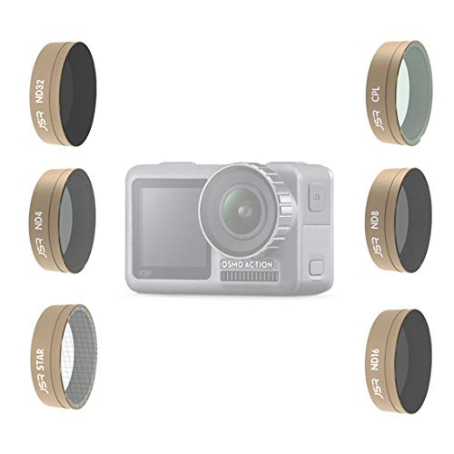 TETAKE Actionkamera Filter für DJI OSMO Action Cam, 6tlg ND Filters Set für OSMO Action Kamera - Star CPL ND4 ND8 ND16 ND32
