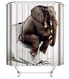 Adisaer Duschvorhang Vintage Bunt Elefant Auf WC 180X180Cm Gewebe Badezimmer Dekorationen Haken Imprägniern Wasserabweisende Duschvorhänge Anti-Schimmel Antibakteriell
