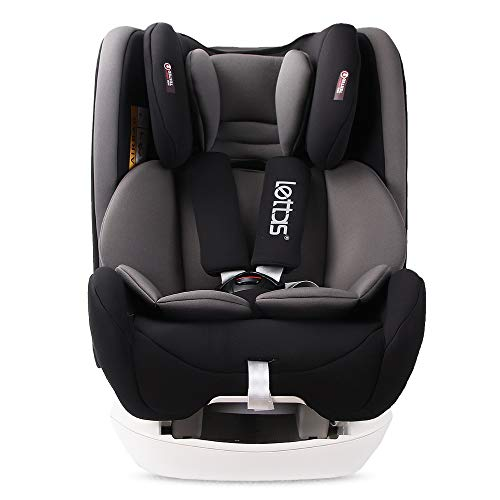 LETTAS Baby Kindersitz Autokindersitz Gruppe 0+1/2/3 (0-36 kg/0-12 Year) mit Protektoren seitliche Isofix Top Tether ECE R44/04 (Schwarz-2)