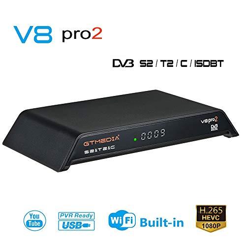 GT MEDIA V8 PRO2 Decodificador Satélite Receptor TDT, DVB-S2 DVB-T2 DVB-C  ISDB-T, TV Digital WiFi Incorporado FTA 1080p Full HD H 265 AVS+ Soporte