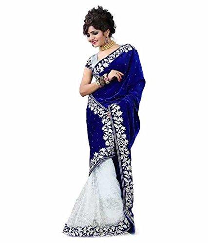 V Art Designer Blue Velvet-White Jacquard Net Half-Half Saree With Blouse