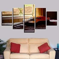 yuandp Mur Art Toile Photo décoration de la Maison modulaire Cadre 5 pièces Chaude fenêtre Rebord Guitare Folk Peinture Peinture HD Impression Musique Affiche Cadre
