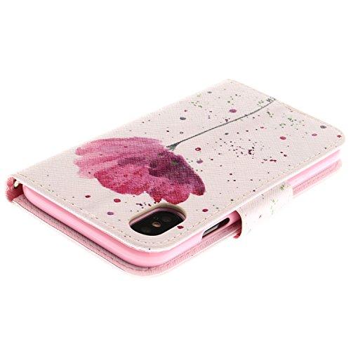Coque pour iPhone X, Frlife | Housse en Cuir PU pour iPhone X Coque avec Étui en Silicone, Protection Complète pour Votre Téléphone Portable color7