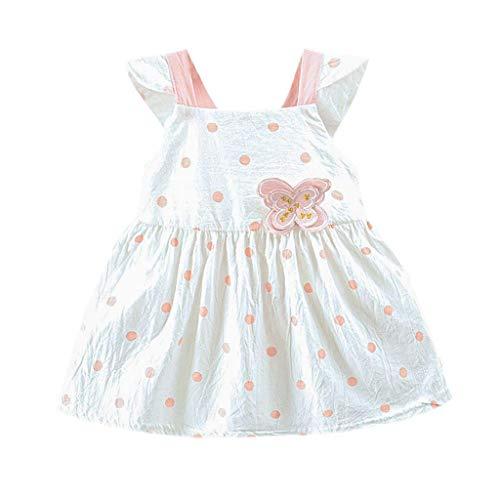 KIMODO Kleinkind Baby Mädchen Kleid Punkt gedruckt Schmetterlings Bogen Kleidung Urlaub Sommer Strandkleid Party Prinzessin Outfit (Einfach, Halloween-kostüme Eine Aber Gute)