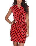 Vestidos con diseño de Lunares Mujeres con Cuello en V Crossover Sexy Moda Pretina Short Red con Negro - L