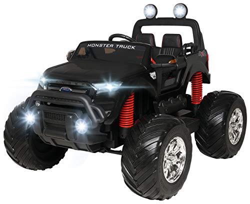 Actionbikes Motors Kinder Elektroauto Ford Ranger Monster - 4 x 45 Watt Motor - Touchscreen - Allrad - 2-Sitzer - Rc Fernbedienung - Elektro Auto für Kinder ab 3 Jahre (Mattschwarz Lackiert)