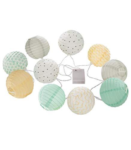 AC-Déco Guirlande LED 10 Boules - L 190 x D 10 cm - Papier - Pastel
