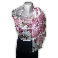 ESPOIR Foulard peint à la main, 100% soie naturelle, écharpe peinte à la 86f859ef2b3