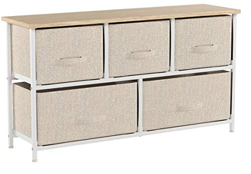 soges 5 tiroirs Table de Nuit Commode avec Meuble de Rangement,système de Classification Pratique pour la Chambre à Coucher,Beige,106-BM-N