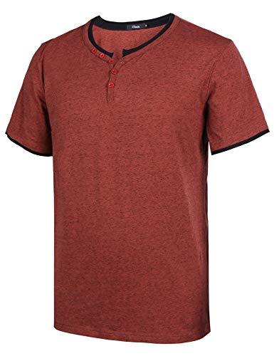 Sykooria Herren T-Shirts Einfarbig Sommer Kurzarm Tees Henley Shirt mit Knöpfen Winerot - Henley Tee