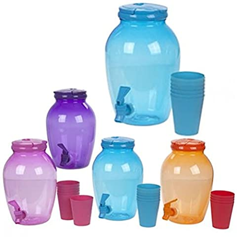 Fun Daisy 4L Plastic Screw Top Drink Beverage Serving Dispenser Jar With Tap + 6 Cups by Fun Daisy Home Series