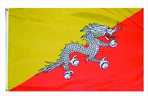 Bhutan Flag (AccessCube Heimdekoration, 100% Polyester, Nationalflagge Bedruckt, groß 3x5 Flag Bhutan)