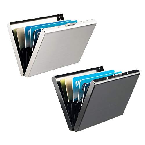 Porte Carte de Crédit, Leenuo 2 Pièces Etui de Carte de Visite Slim en Aluminium de Blocage RFID, 6 Slots pour Vos Cartes de Crédit, Noir+ Argent (Technologie de Blocage RFID)