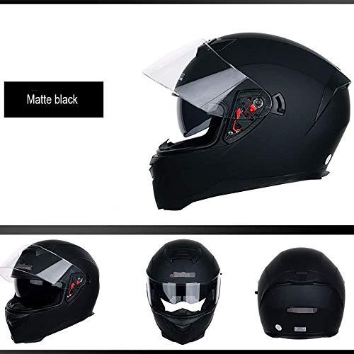 Moto helm Men motorradhelm männer und frauen sommer double lens full face helm anti-fog lokomotive persönlichkeit helm vier jahreszeiten (Color : Black 1, Size : M(55-57cm))