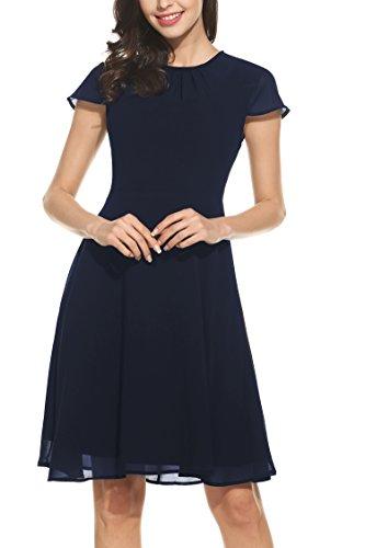 Chiffonkleid Sommerkleid Partykleid Hochzeit Festliches Kleid A Linie Kurzarm Knielang Blau(A) XL ()