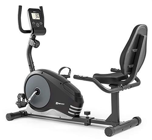 Hop-Sport Liege-Heimtrainer Root Sitzheimtrainer Heimtrainer Liegeergometer 9,5 kg Schwungmasse 8 Widerstandsstufen Benutzergewicht bis 120 kg (Silber)