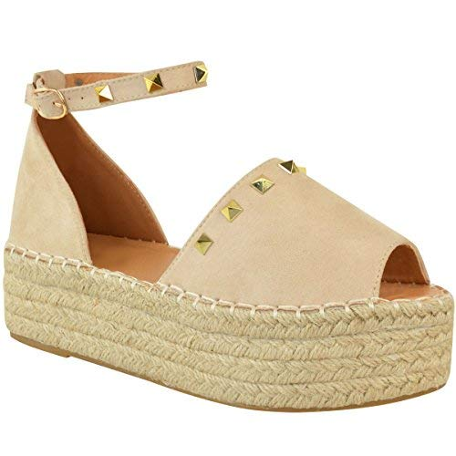 Fashion Thirsty Womens Ladies Flatforms Sandals Studded Embellished Summer Platforms Shoes Size