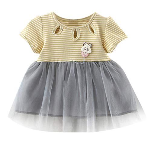 YWLINK Kleinkind Kleidung MäDchen Baby Klassisch Streifen MäDchen GerüSchte RüSchen Mesh Patchwork-TüLlrock Party Prinzessin Kleider(Gelb,12-18Monate) (Und Wunderland Alice Halloween-kostüme Kleinkind)