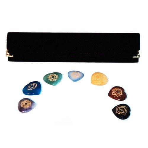 Reiki Chakra Steine W/Herz Chakra Tasche ~ Set von 7Steinen in Herzform mit Gravur Chakra Symbole