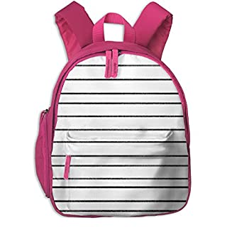 Childrens Backpack for Girls,Stripes Unicorn Quilt Nursery Fabric Bw_4347-charlottewinter,for Children's Schools Oxford Cloth (Pink)