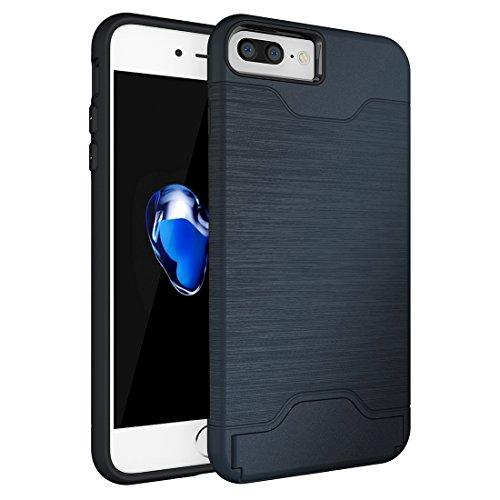 iPhone Case Cover Pour iPhone 7 Plus texture brossée TPU séparable + affaire PC Combinaison arrière avec slot pour carte et support ( Color : Rose gold ) Dark blue