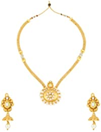 Dancing Girl Kundans Wedding White Metal Alloy Jewellery Set With Necklace And Earring For Women