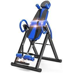 YOLEO Table d'Inversion Pliable Musculation Appareil du Dos Bras Sport Exercice Maison Bureau Hiver, Support jusqu'à 150kg Taille Réglable 185cm Inversion 180°