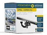 Weltmann AHK Komplettset OPEL Corsa D Brink Abnehmbare Anhängerkupplung + fahrzeugspezifischer Jaeger Automotive Elektrosatz 13-polig