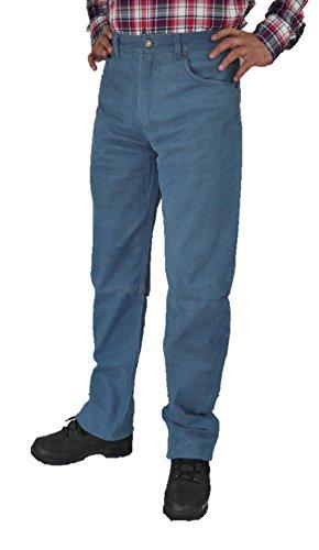 Fuente Jeansblau Lederhose Herren Damen lang - Lederjeans ohne Knienaht- Echtes Leder, Lederhose Jeans 501 Blau- Motorrad Lederjeans- 1A Qualität Rind Nubuk (34, Jeans Blau) -
