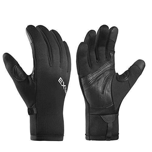 EXski Laufhandschuhe Herren Damen Touchscreen Handschuhe Outdoor Sport Klettern Wandern Moped Winter Warm Leichte Schwarz M