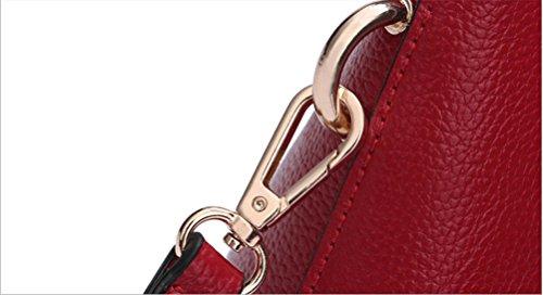 Yan Show Damen Lichee Muster Handtasche Single Schulter Tasche Schale Paket Rot