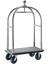 Hochwertiger Gepäckwagen für Hotel Gepäck Wagen Transport extra stabiler Transportwagen Hotelwagen Kofferwagen Packwagen in der Farbe Silber