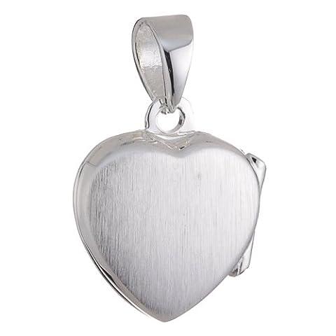 Vinani Damen-Anhänger Herz Medaillon zum Öffnen matt glänzend Sterling Silber 925 Kette AHK-EZ (Sterling Silber Diamant-medaillon)