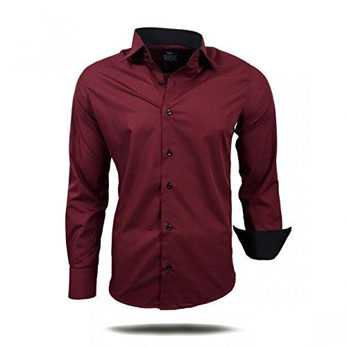 Herren Hemd Hemden Business Hochzeit Freizeit Slim Fit S M L XL XXL 44, Größe:S, Farbe:Bordo