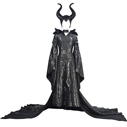 I TRUE ME Wunderschöne Schwarze Hexe Angelina Jolie Prinzessin Cosplay Kostümkleid und Kopfbedeckung für Damen,L (Angelina Jolie Maleficent' Kostüm)