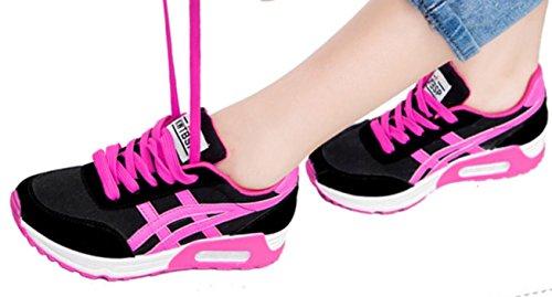 YCMDM Chaussures de sport Femmes respirant Chaussures décontractées Chaussures de course épais Bottom Air Cushion Chaussures Red