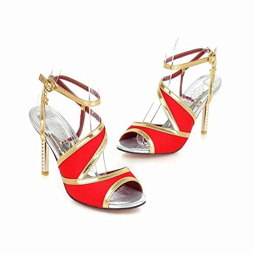 Mee Shoes Damen high heels open toe Schnalle Sandalen Rot