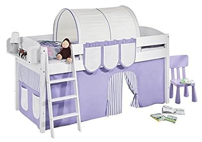 """Cama semi alta """"IDA BLANCA"""" con cortinas convertible en cama baja - Lila / Beige, 4105 Doble"""