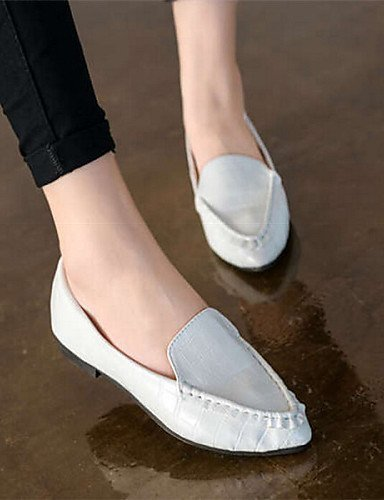 ShangYi gyht Scarpe Donna Finta pelle Piatto A punta Mocassini Casual Nero/Bianco White