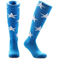 Samson Hosiery® azul y blanco estrellas impresión Funky Novedad Moda Regalo Calcetines de fútbol RUGBY deportes y Casual rodilla alta calcetines para hombres mujeres niños unisex