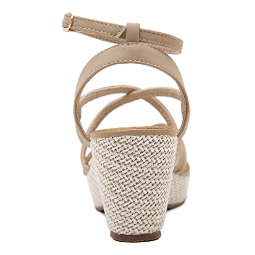 ZOEREA Sandali donna estate PU Cuoio Stile romano Tacco Alto, infradito Cinturino in fibbia alla caviglia Beige