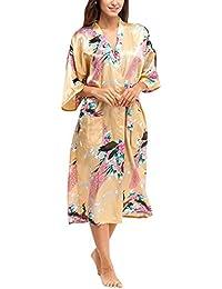 Cckuu Women s Silk Satin Bridesmaid Robe Kimono Bridal Sleepwear Dressing  Gown 6d1b89a1e