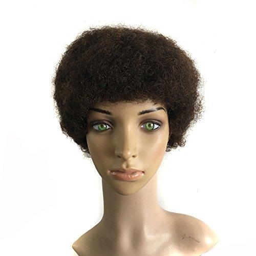 Quercy Haar® 100% Echthaar maschinell hergestellt Unisex Afro Perücke(#2)