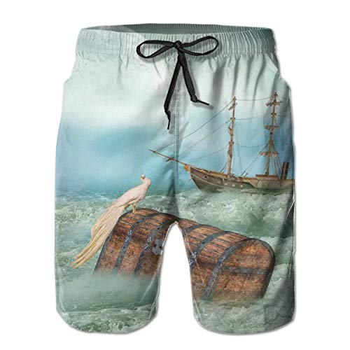 Men Swim Trunks Beach Shorts,Antique Old Trunk In Ocean Waves with Magic Bird Pirate Boat Picture Mint Green Light Caramel,Quick Dry 3D Printed Drawstring Casual Summer Surfing Board Shorts XXL - Pictures Antique Bird