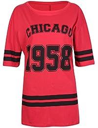 New Womens Oversize 1958 Chicago Print Baggy T-shirt Tops ( Red , UK 20-22 / EU 48-50 )