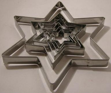 Ausstechformen für Plätzchen - Edelstahl - Stern - 5 Stück